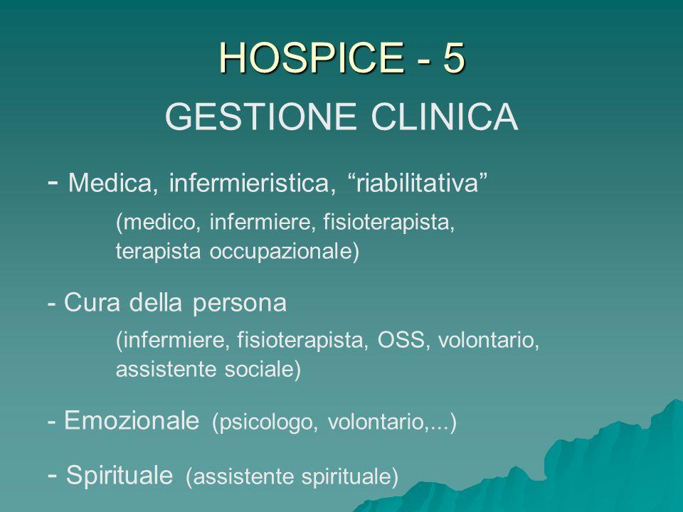 HOSPICE - 5 GESTIONE CLINICA - Medica, infermieristica, riabilitativa (medico, infermiere, fisioterapista, terapista occupazionale) - Cura della perso