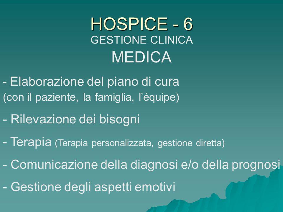 HOSPICE - 6 GESTIONE CLINICA MEDICA - Elaborazione del piano di cura (con il paziente, la famiglia, léquipe) - Rilevazione dei bisogni - Terapia (Tera