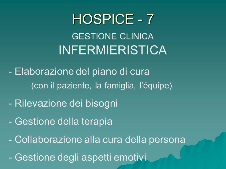 HOSPICE - 7 GESTIONE CLINICA INFERMIERISTICA - Elaborazione del piano di cura (con il paziente, la famiglia, léquipe) - Rilevazione dei bisogni - Gest