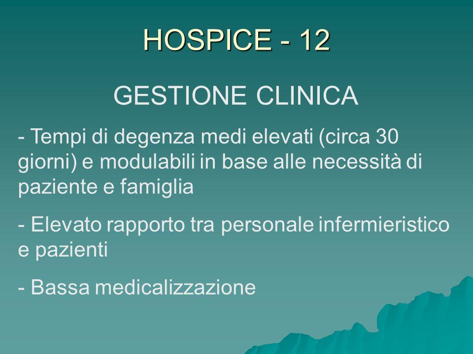 HOSPICE - 12 GESTIONE CLINICA - Tempi di degenza medi elevati (circa 30 giorni) e modulabili in base alle necessità di paziente e famiglia - Elevato r