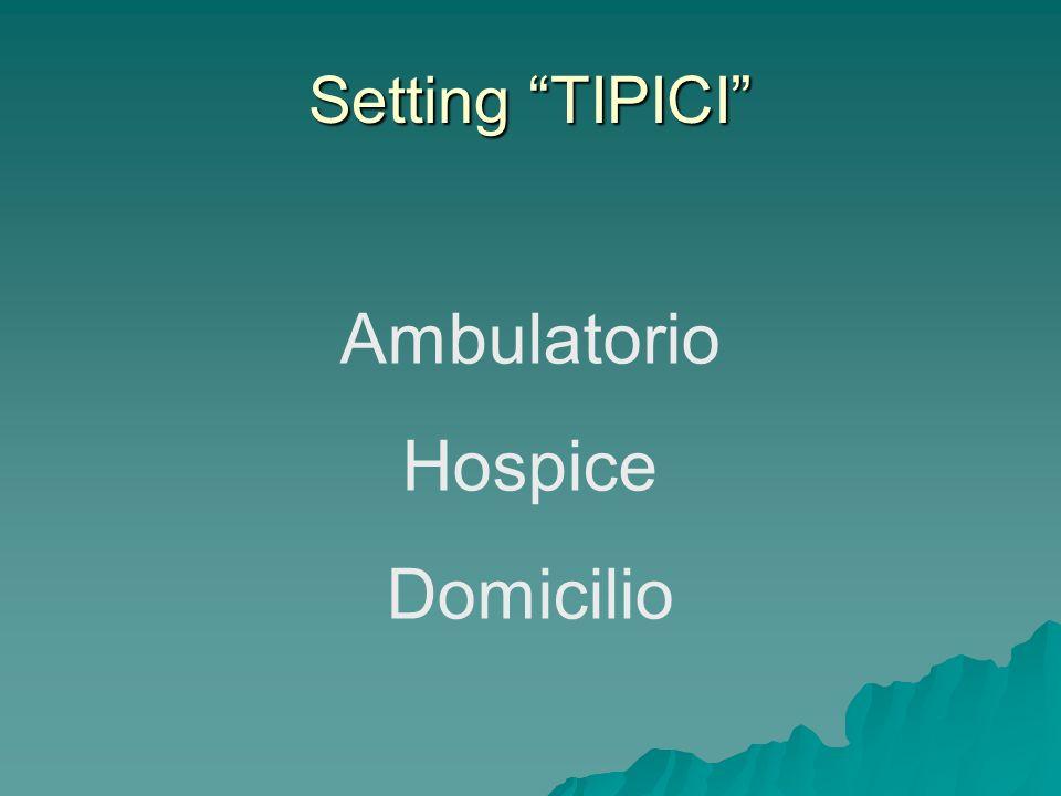 DOMICILIO - 13 La differenza sostanziale non è nei bisogni del paziente, ma nelle modalità di risposta