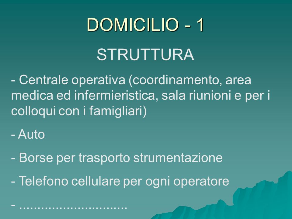 DOMICILIO - 1 STRUTTURA - Centrale operativa (coordinamento, area medica ed infermieristica, sala riunioni e per i colloqui con i famigliari) - Auto -