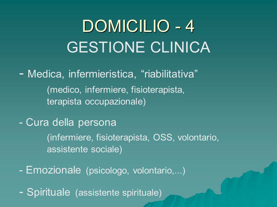 DOMICILIO - 4 GESTIONE CLINICA - Medica, infermieristica, riabilitativa (medico, infermiere, fisioterapista, terapista occupazionale) - Cura della per