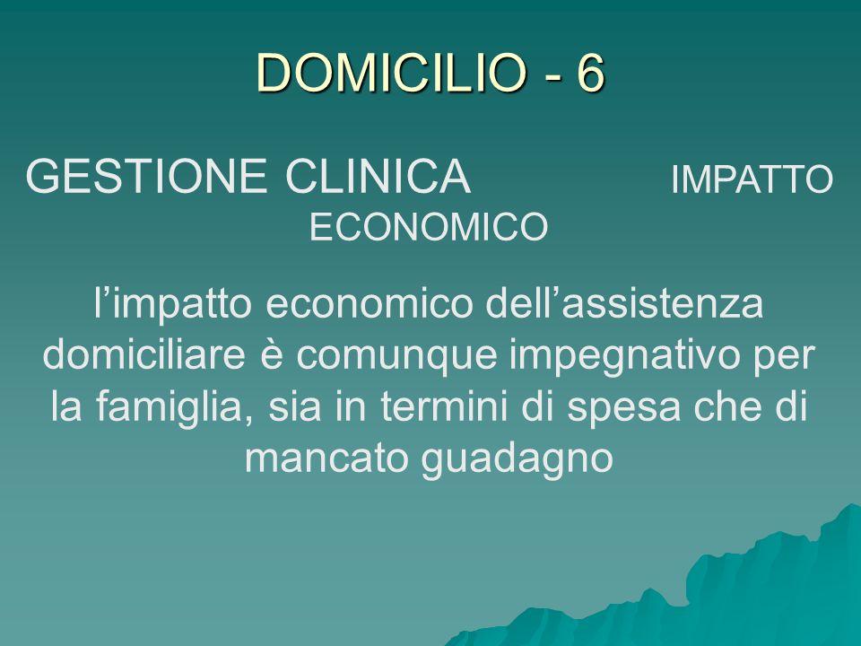 DOMICILIO - 6 GESTIONE CLINICA IMPATTO ECONOMICO limpatto economico dellassistenza domiciliare è comunque impegnativo per la famiglia, sia in termini