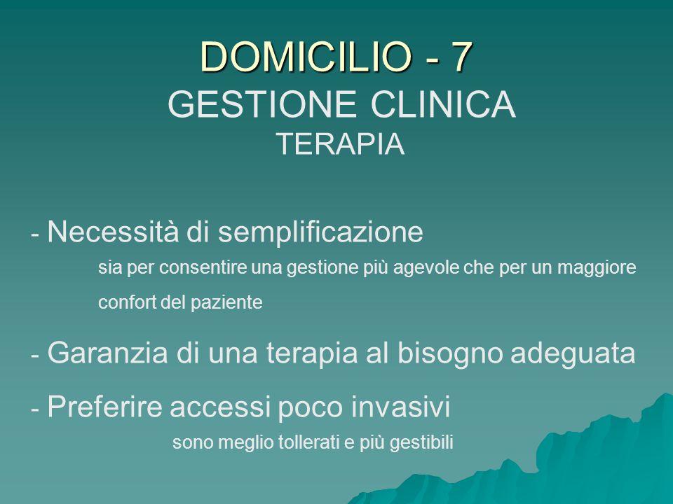 DOMICILIO - 7 GESTIONE CLINICA TERAPIA - Necessità di semplificazione sia per consentire una gestione più agevole che per un maggiore confort del pazi