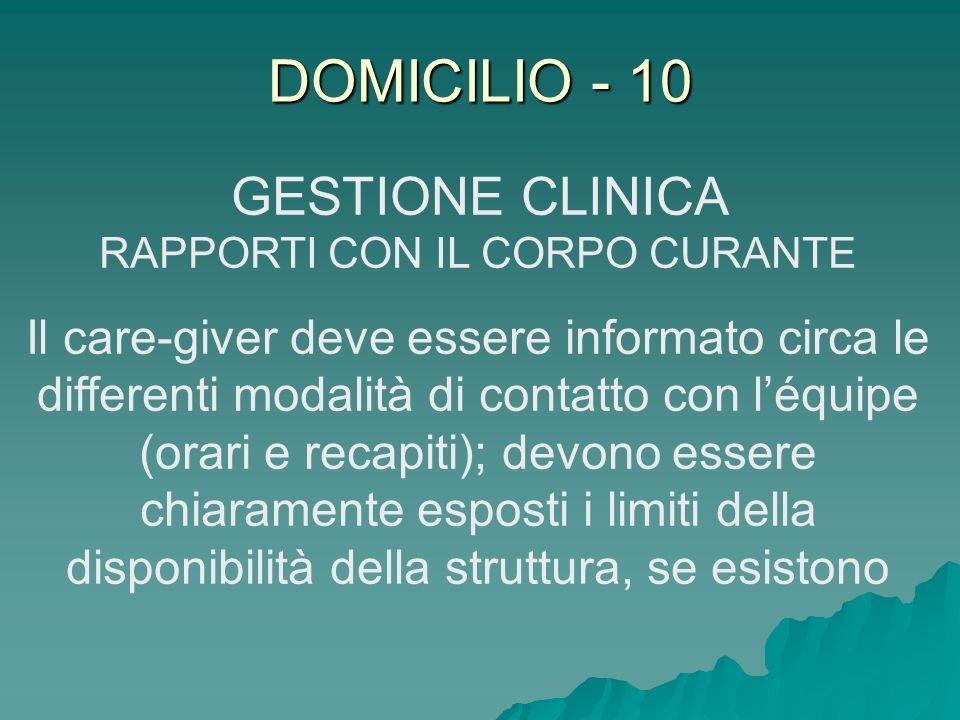 DOMICILIO - 10 GESTIONE CLINICA RAPPORTI CON IL CORPO CURANTE Il care-giver deve essere informato circa le differenti modalità di contatto con léquipe
