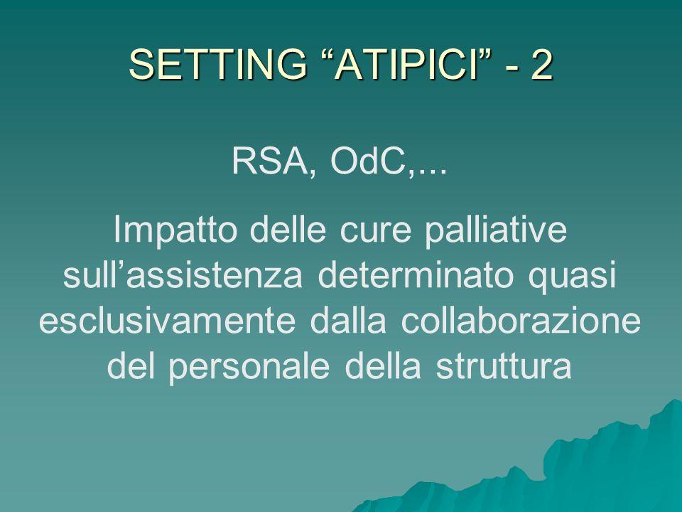 SETTING ATIPICI - 2 RSA, OdC,... Impatto delle cure palliative sullassistenza determinato quasi esclusivamente dalla collaborazione del personale dell