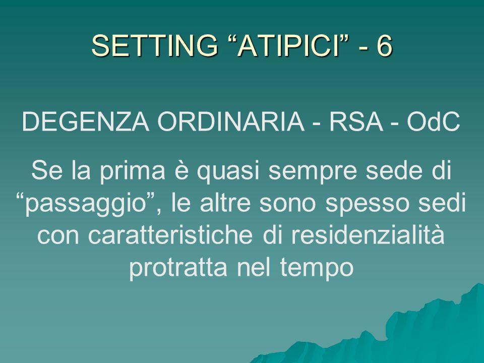 SETTING ATIPICI - 6 DEGENZA ORDINARIA - RSA - OdC Se la prima è quasi sempre sede di passaggio, le altre sono spesso sedi con caratteristiche di resid