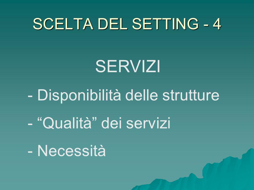 SCELTA DEL SETTING - 4 SERVIZI - Disponibilità delle strutture - Qualità dei servizi - Necessità