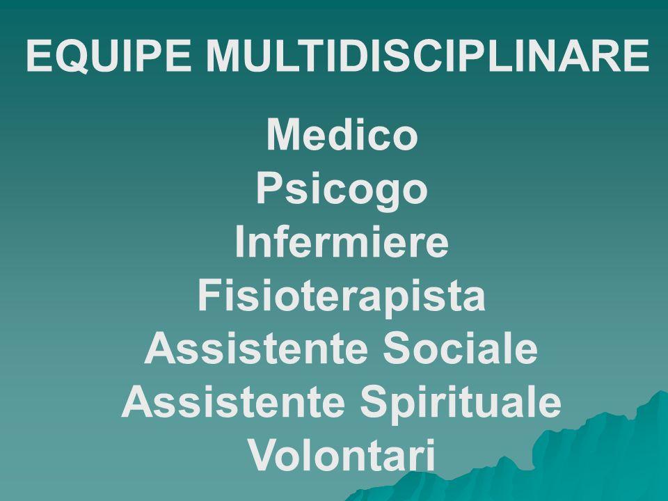EQUIPE MULTIDISCIPLINARE Medico Psicogo Infermiere Fisioterapista Assistente Sociale Assistente Spirituale Volontari