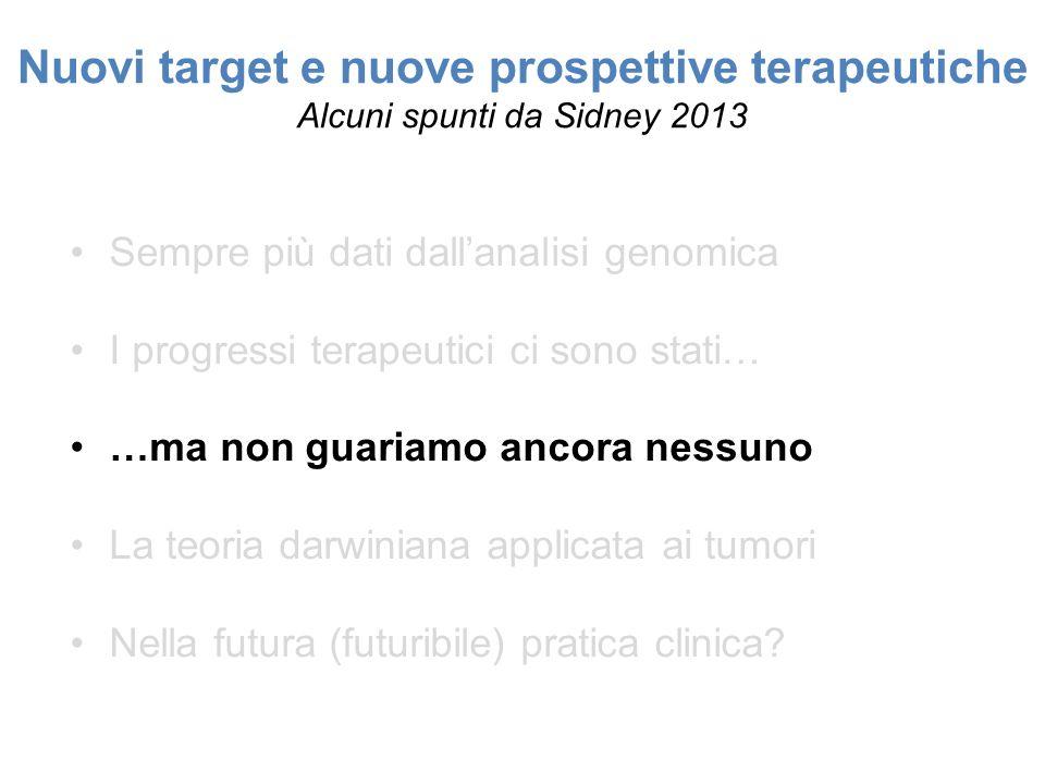Nuovi target e nuove prospettive terapeutiche Alcuni spunti da Sidney 2013 Sempre più dati dallanalisi genomica I progressi terapeutici ci sono stati…