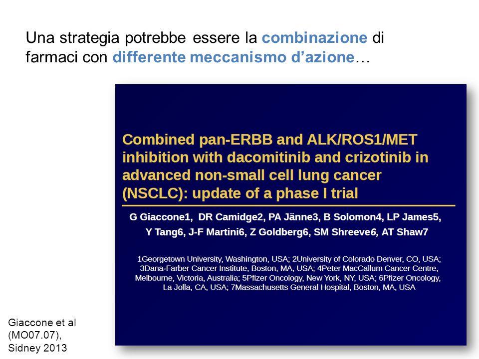Una strategia potrebbe essere la combinazione di farmaci con differente meccanismo dazione… Giaccone et al (MO07.07), Sidney 2013