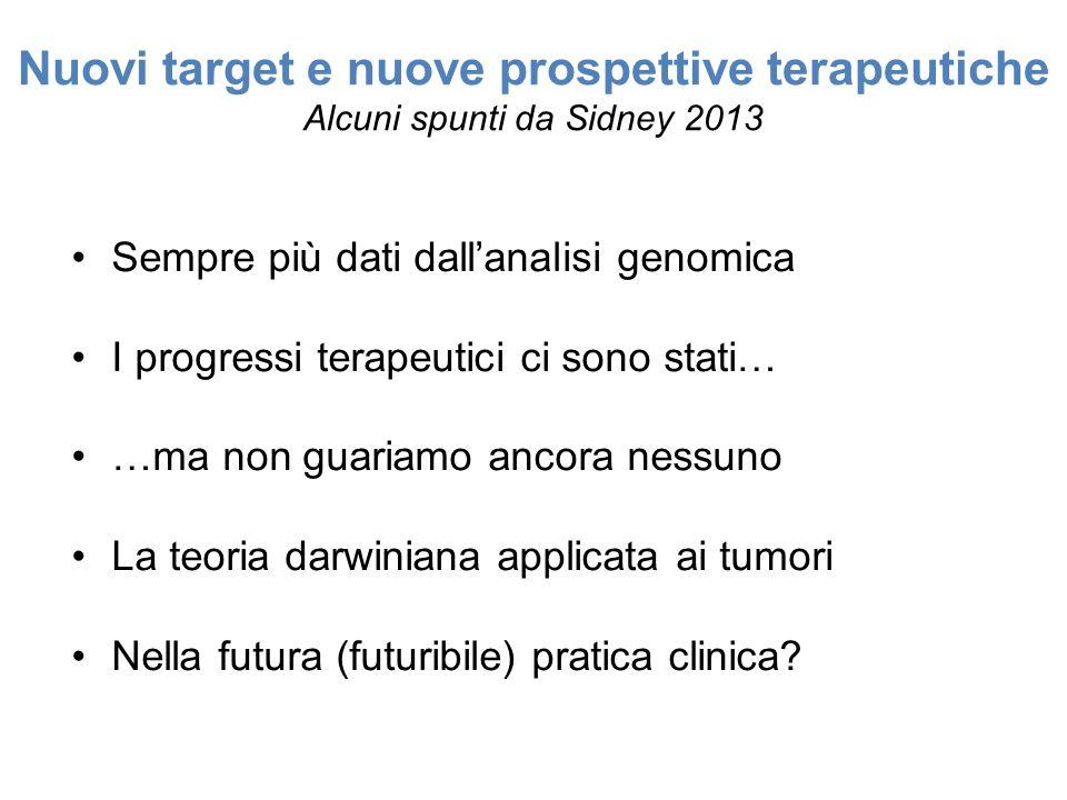 Nuovi target e nuove prospettive terapeutiche Alcuni spunti da Sidney 2013 Sempre più dati dallanalisi genomica I progressi terapeutici ci sono stati… …ma non guariamo ancora nessuno La teoria darwiniana applicata ai tumori Nella futura (futuribile) pratica clinica