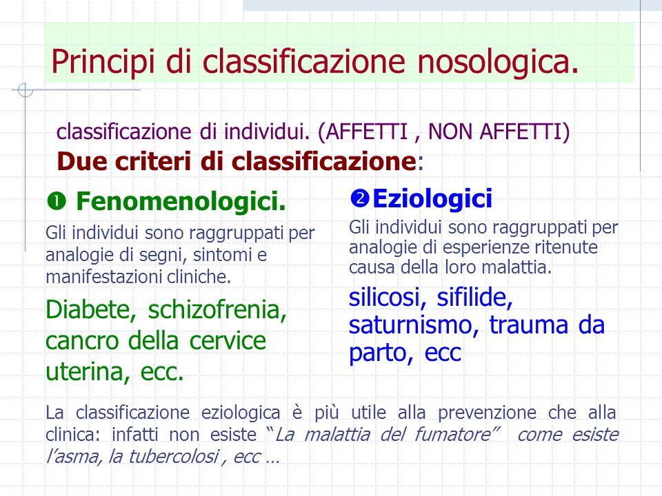 Principi di classificazione nosologica. In epidemiologia.
