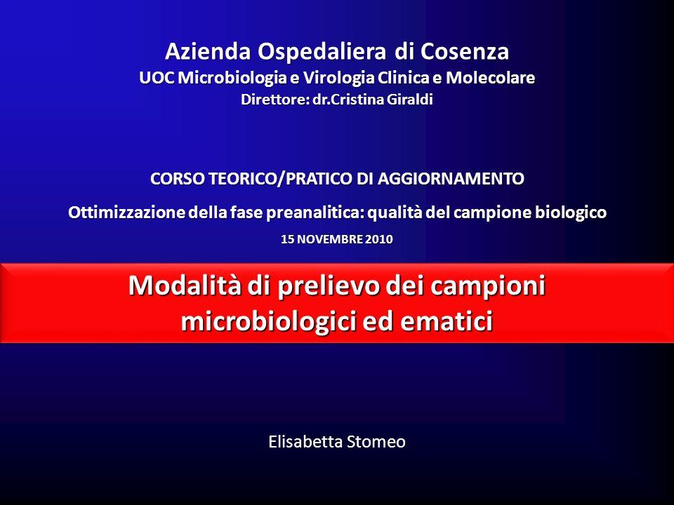 Modalità di prelievo dei campioni microbiologici ed ematici Modalità di prelievo dei campioni microbiologici ed ematici Elisabetta Stomeo Azienda Ospe