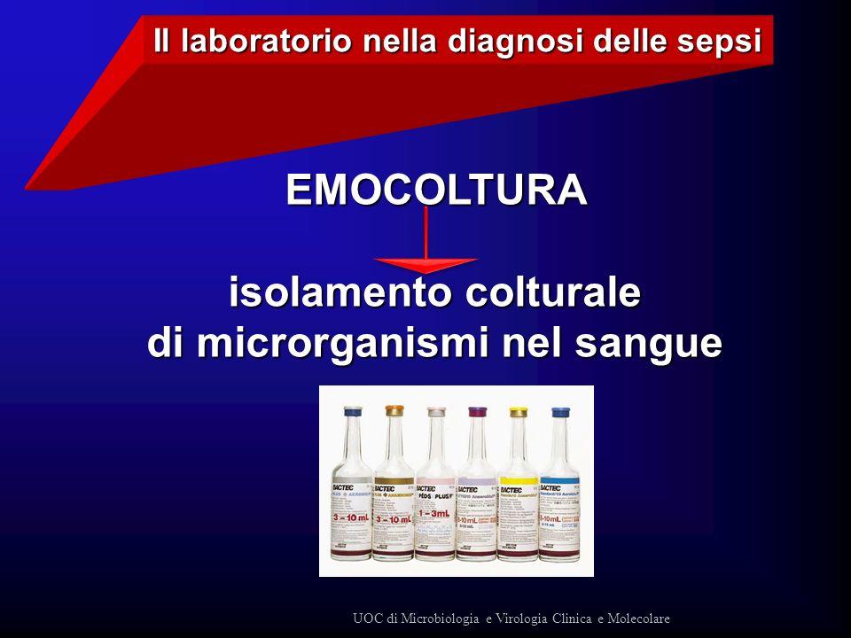 EMOCOLTURA isolamento colturale di microrganismi nel sangue Il laboratorio nella diagnosi delle sepsi UOC di Microbiologia e Virologia Clinica e Molec