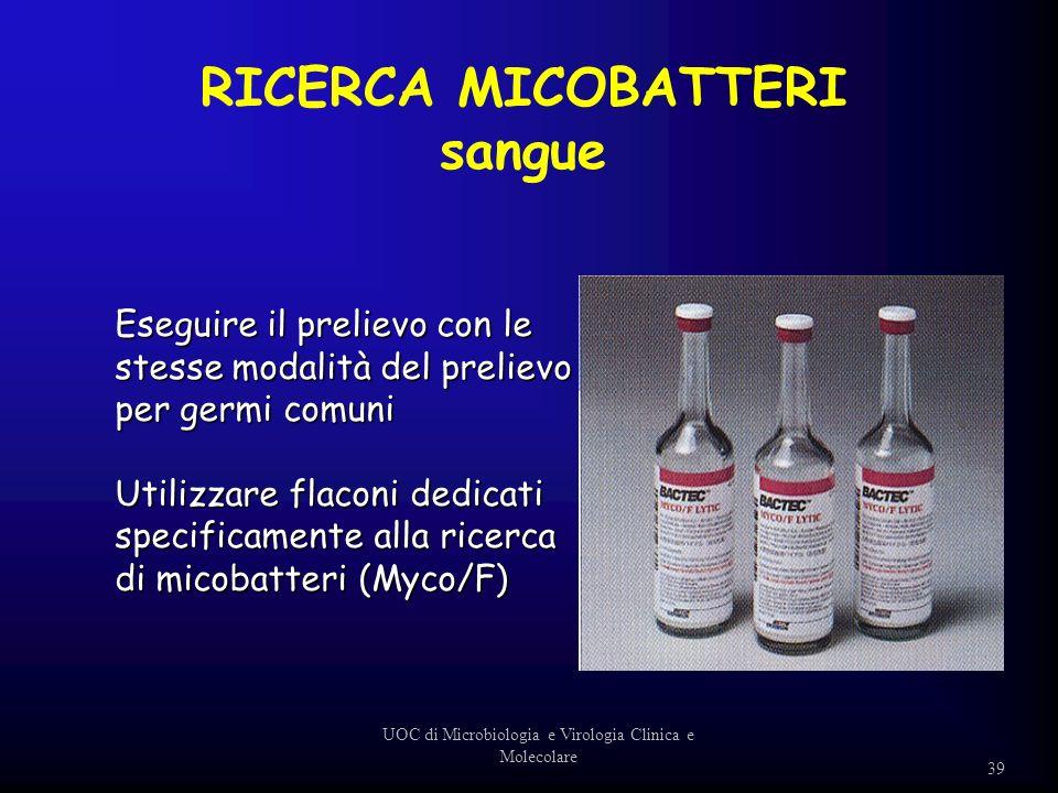 Eseguire il prelievo con le stesse modalità del prelievo per germi comuni Utilizzare flaconi dedicati specificamente alla ricerca di micobatteri (Myco