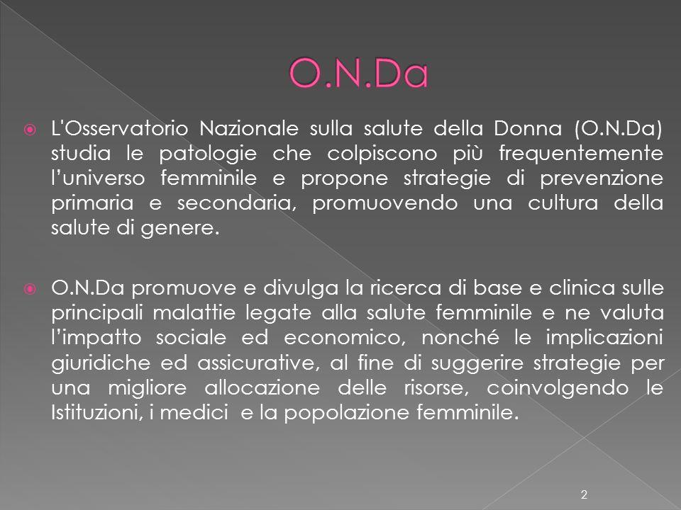 L'Osservatorio Nazionale sulla salute della Donna (O.N.Da) studia le patologie che colpiscono più frequentemente luniverso femminile e propone strateg