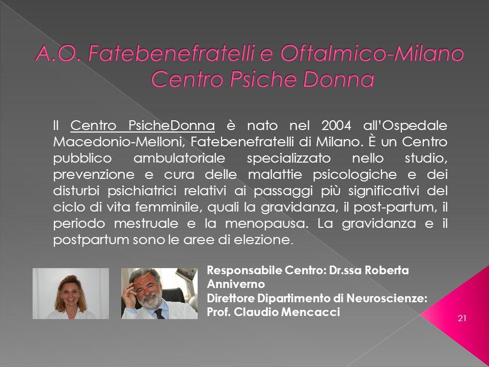 Responsabile Centro: Dr.ssa Roberta Anniverno Direttore Dipartimento di Neuroscienze: Prof. Claudio Mencacci Il Centro PsicheDonna è nato nel 2004 all