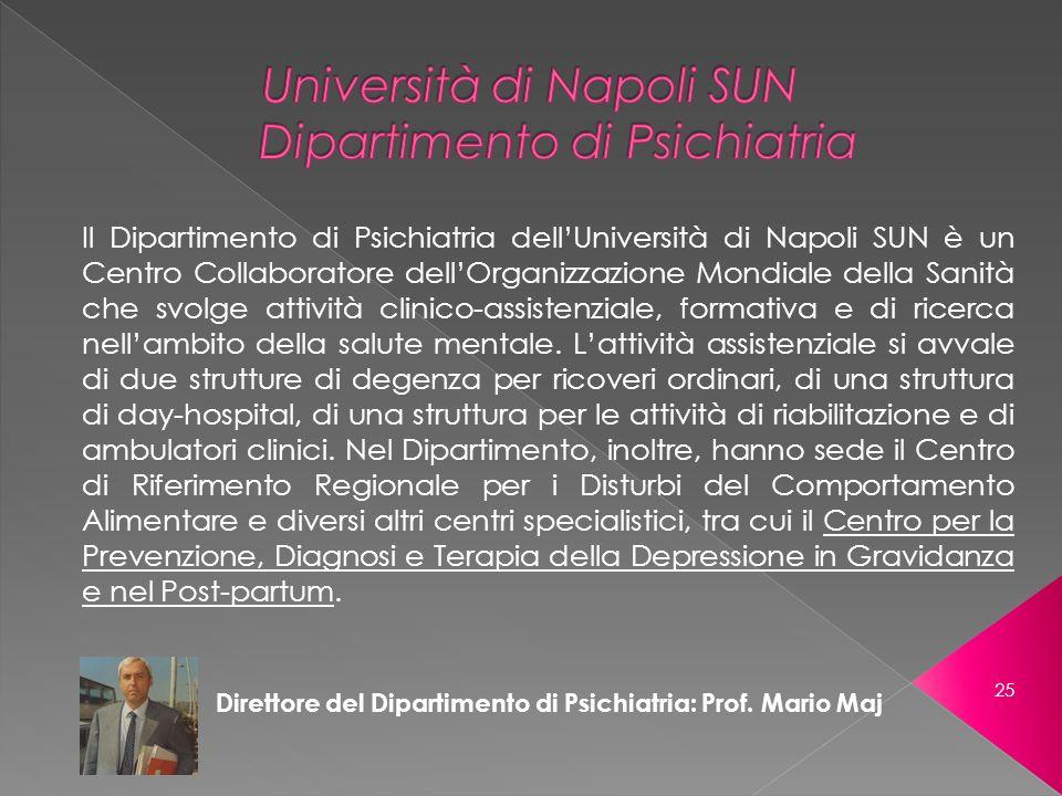 Direttore del Dipartimento di Psichiatria: Prof. Mario Maj Il Dipartimento di Psichiatria dellUniversità di Napoli SUN è un Centro Collaboratore dellO