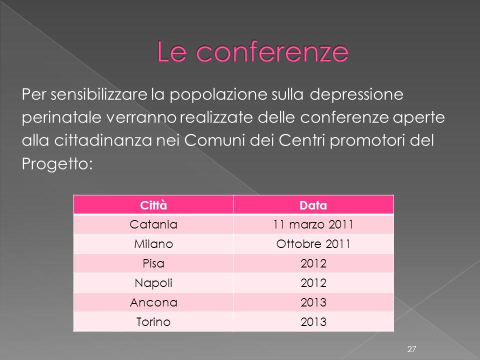 Per sensibilizzare la popolazione sulla depressione perinatale verranno realizzate delle conferenze aperte alla cittadinanza nei Comuni dei Centri pro
