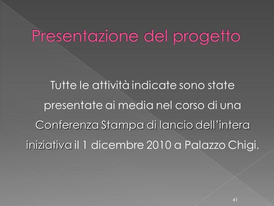 Conferenza Stampa di lancio dellintera iniziativa Tutte le attività indicate sono state presentate ai media nel corso di una Conferenza Stampa di lanc