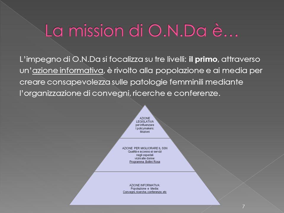 Limpegno di O.N.Da si focalizza su tre livelli: il primo, attraverso unazione informativa, è rivolto alla popolazione e ai media per creare consapevol
