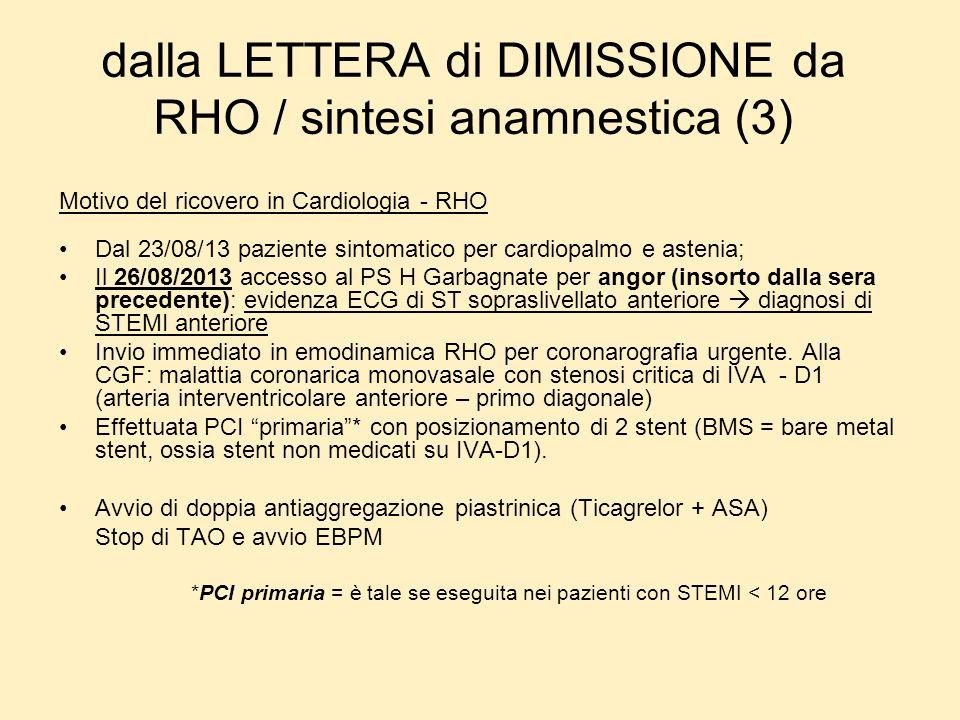 dalla LETTERA di DIMISSIONE da RHO / sintesi anamnestica (3) Motivo del ricovero in Cardiologia - RHO Dal 23/08/13 paziente sintomatico per cardiopalm