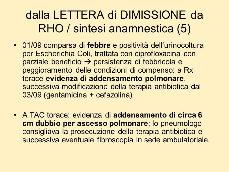 dalla LETTERA di DIMISSIONE da RHO / sintesi anamnestica (5) 01/09 comparsa di febbre e positività dellurinocoltura per Escherichia Coli, trattata con