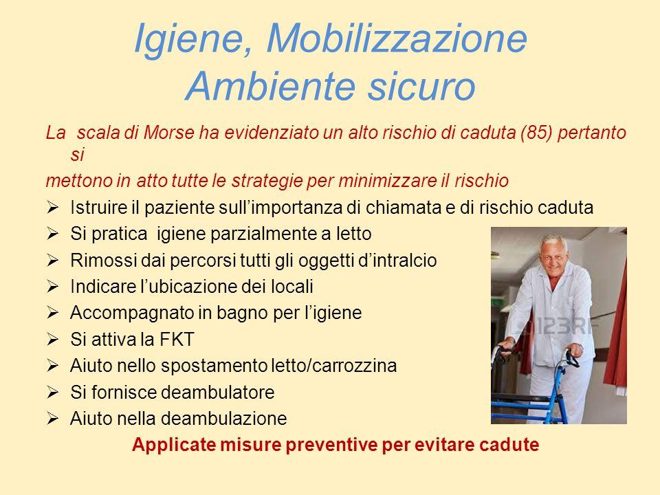 Igiene, Mobilizzazione Ambiente sicuro La scala di Morse ha evidenziato un alto rischio di caduta (85) pertanto si mettono in atto tutte le strategie