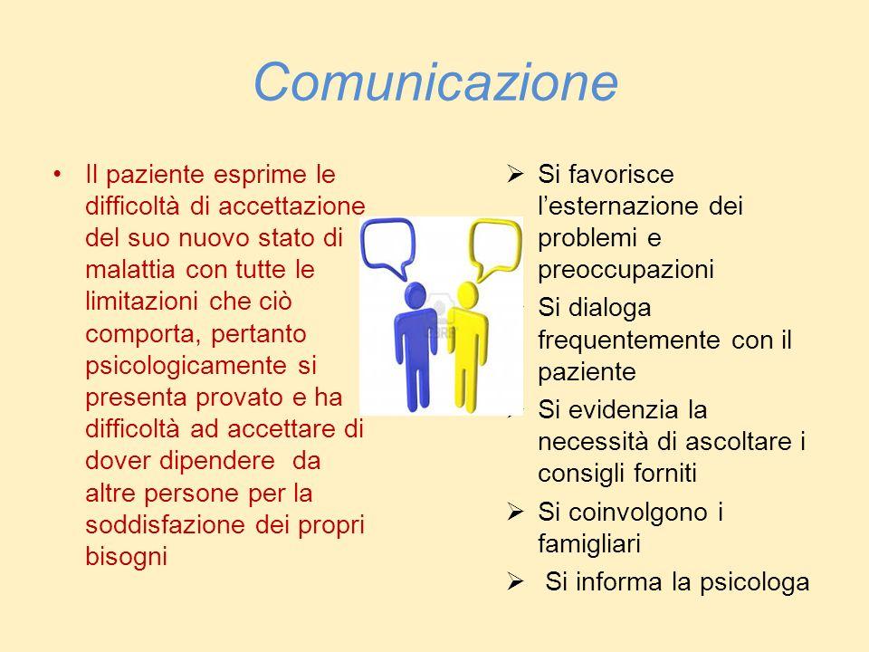 Comunicazione Il paziente esprime le difficoltà di accettazione del suo nuovo stato di malattia con tutte le limitazioni che ciò comporta, pertanto ps