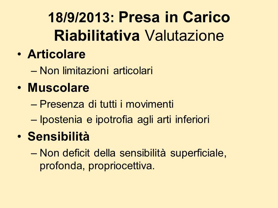 18/9/2013: Presa in Carico Riabilitativa Valutazione Articolare –Non limitazioni articolari Muscolare –Presenza di tutti i movimenti –Ipostenia e ipot