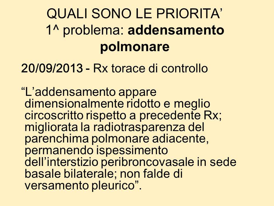 QUALI SONO LE PRIORITA 1^ problema: addensamento polmonare 20/09/2013 - Rx torace di controllo Laddensamento appare dimensionalmente ridotto e meglio
