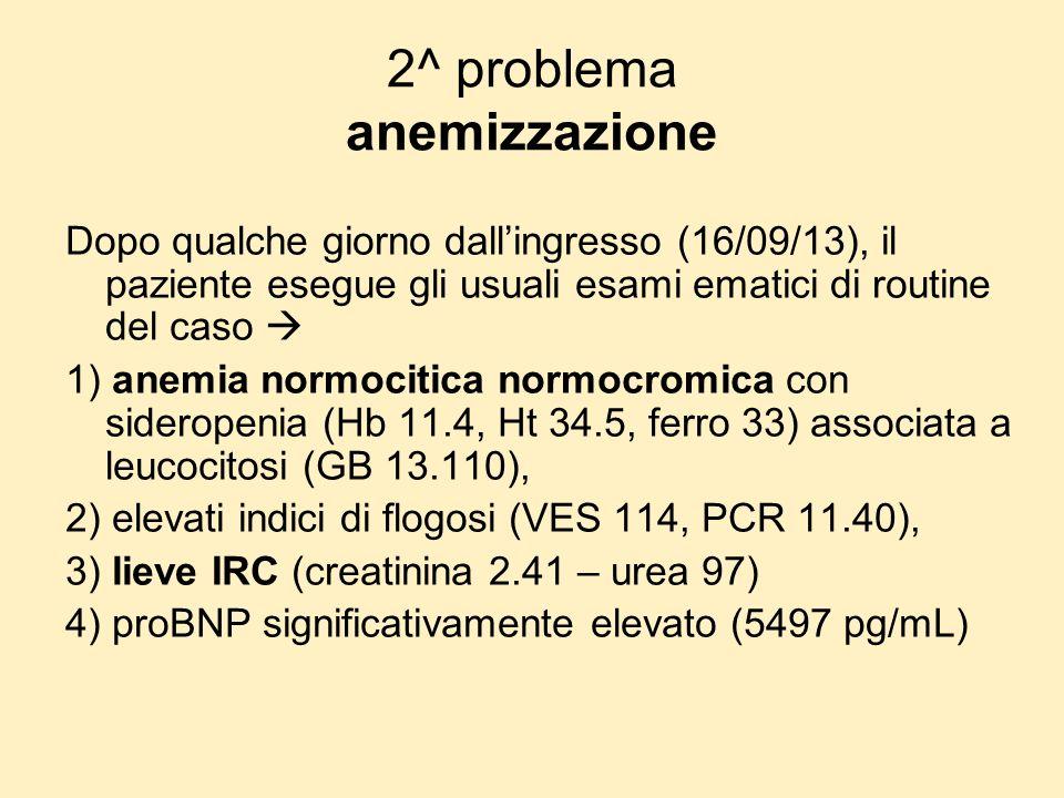 2^ problema anemizzazione Dopo qualche giorno dallingresso (16/09/13), il paziente esegue gli usuali esami ematici di routine del caso 1) anemia normo