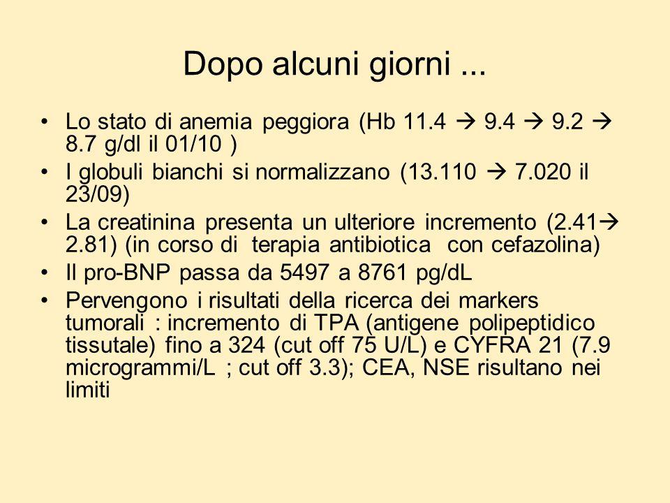 Dopo alcuni giorni... Lo stato di anemia peggiora (Hb 11.4 9.4 9.2 8.7 g/dl il 01/10 ) I globuli bianchi si normalizzano (13.110 7.020 il 23/09) La cr