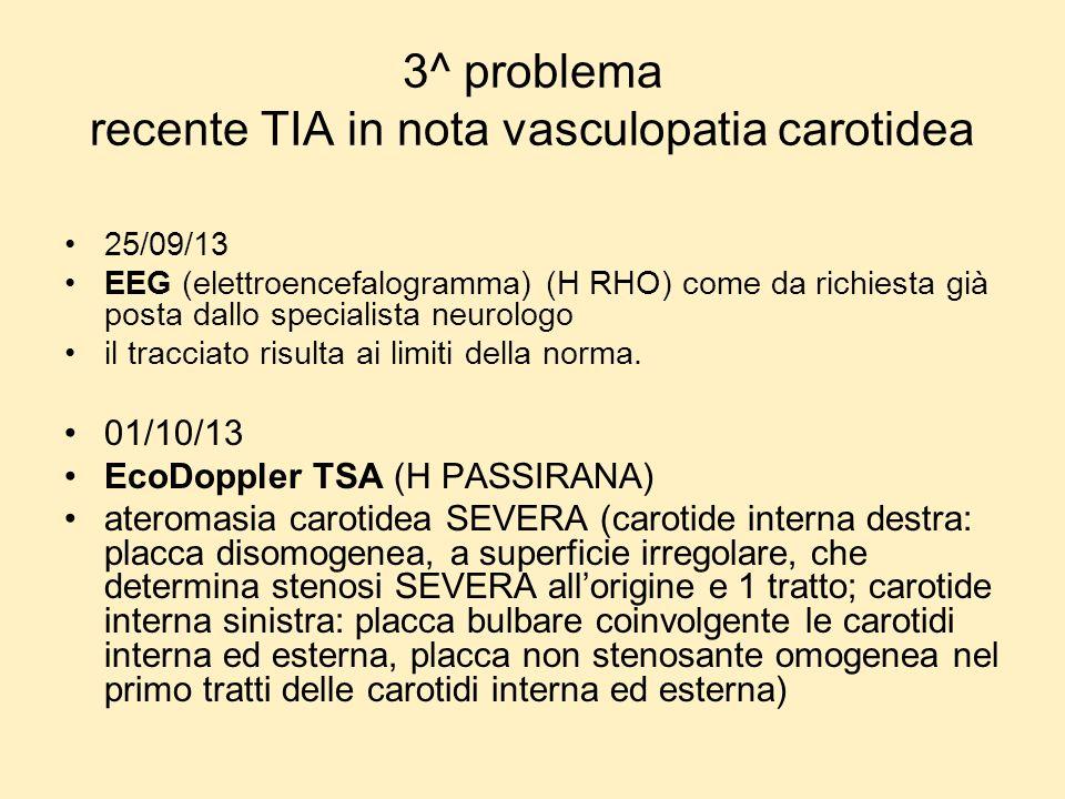 3^ problema recente TIA in nota vasculopatia carotidea 25/09/13 EEG (elettroencefalogramma) (H RHO) come da richiesta già posta dallo specialista neur