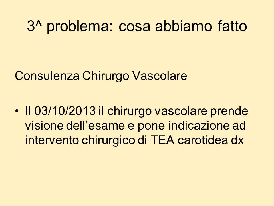 3^ problema: cosa abbiamo fatto Consulenza Chirurgo Vascolare Il 03/10/2013 il chirurgo vascolare prende visione dellesame e pone indicazione ad inter