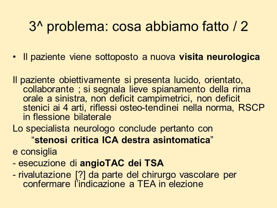 3^ problema: cosa abbiamo fatto / 2 Il paziente viene sottoposto a nuova visita neurologica Il paziente obiettivamente si presenta lucido, orientato,