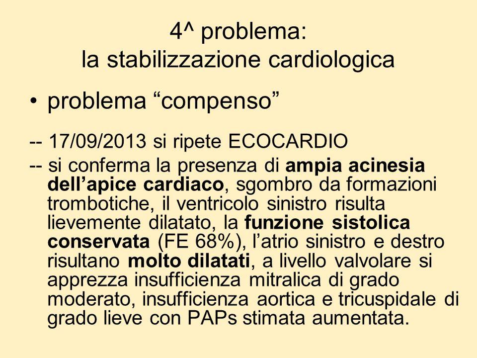 4^ problema: la stabilizzazione cardiologica problema compenso -- 17/09/2013 si ripete ECOCARDIO -- si conferma la presenza di ampia acinesia dellapic