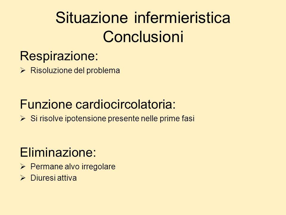 Respirazione: Risoluzione del problema Funzione cardiocircolatoria: Si risolve ipotensione presente nelle prime fasi Eliminazione: Permane alvo irrego