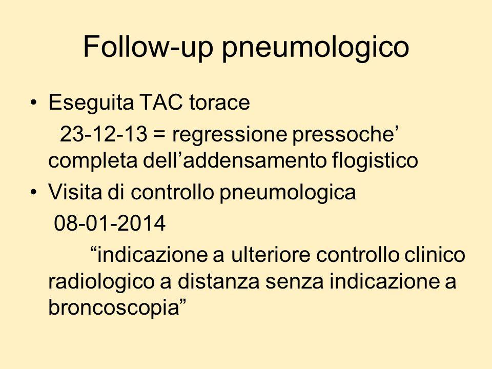 Follow-up pneumologico Eseguita TAC torace 23-12-13 = regressione pressoche completa delladdensamento flogistico Visita di controllo pneumologica 08-0