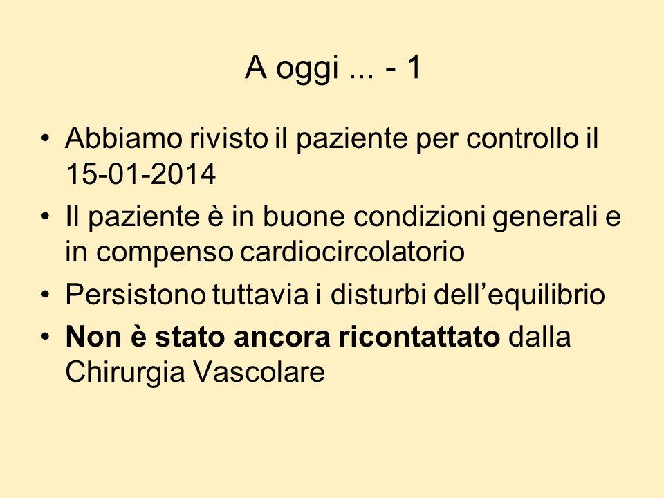 A oggi... - 1 Abbiamo rivisto il paziente per controllo il 15-01-2014 Il paziente è in buone condizioni generali e in compenso cardiocircolatorio Pers