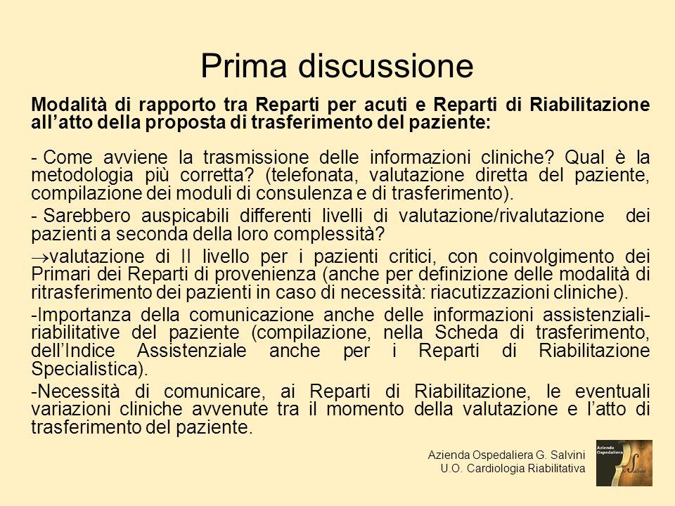 Prima discussione Modalità di rapporto tra Reparti per acuti e Reparti di Riabilitazione allatto della proposta di trasferimento del paziente: - Come