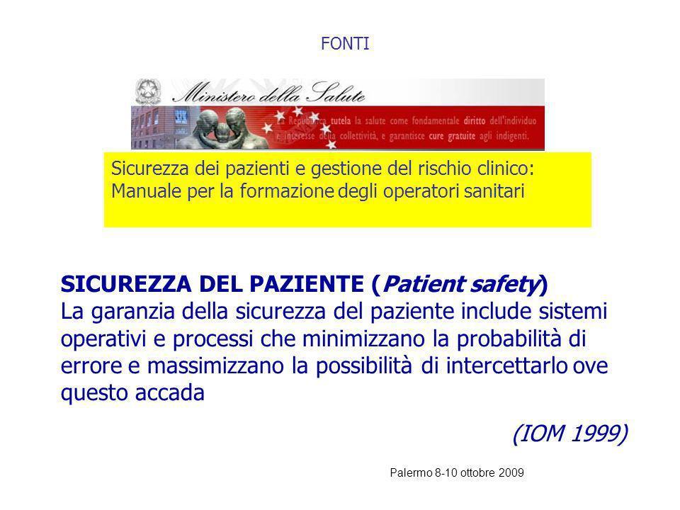 Palermo 8-10 ottobre 2009 COME AFFRONTARE IL RISCHIO CLINICO Quando si affronta il tema del rischio clinico è necessario soffermarsi a definire lerror
