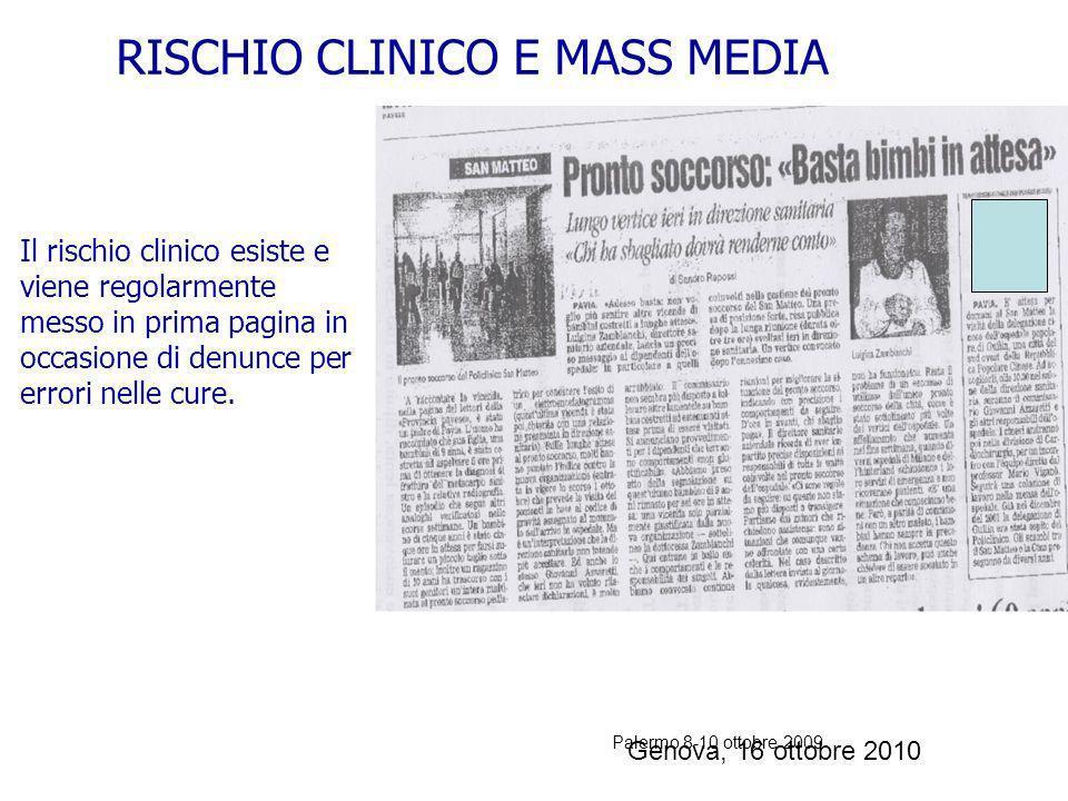 Palermo 8-10 ottobre 2009 Genova, 16 ottobre 2010 sbatti il mostro in prima pagina RISCHIO CLINICO E MASS MEDIA