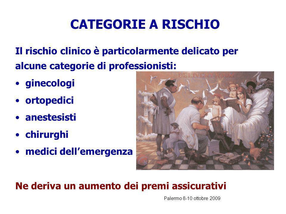 Palermo 8-10 ottobre 2009 Il rischio clinico esiste e viene regolarmente messo in prima pagina in occasione di denunce per errori nelle cure. RISCHIO