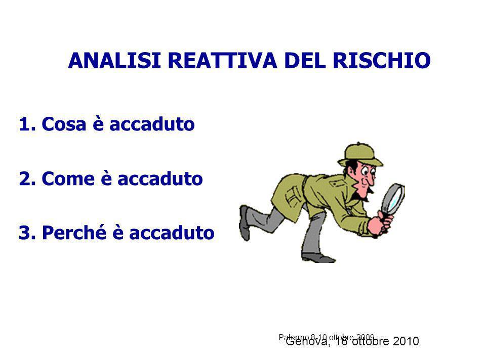 Palermo 8-10 ottobre 2009 ANALISI REATTIVA: studio a posteriori degli incidenti volta a individuare le cause che hanno permesso il loro verificarsi. A