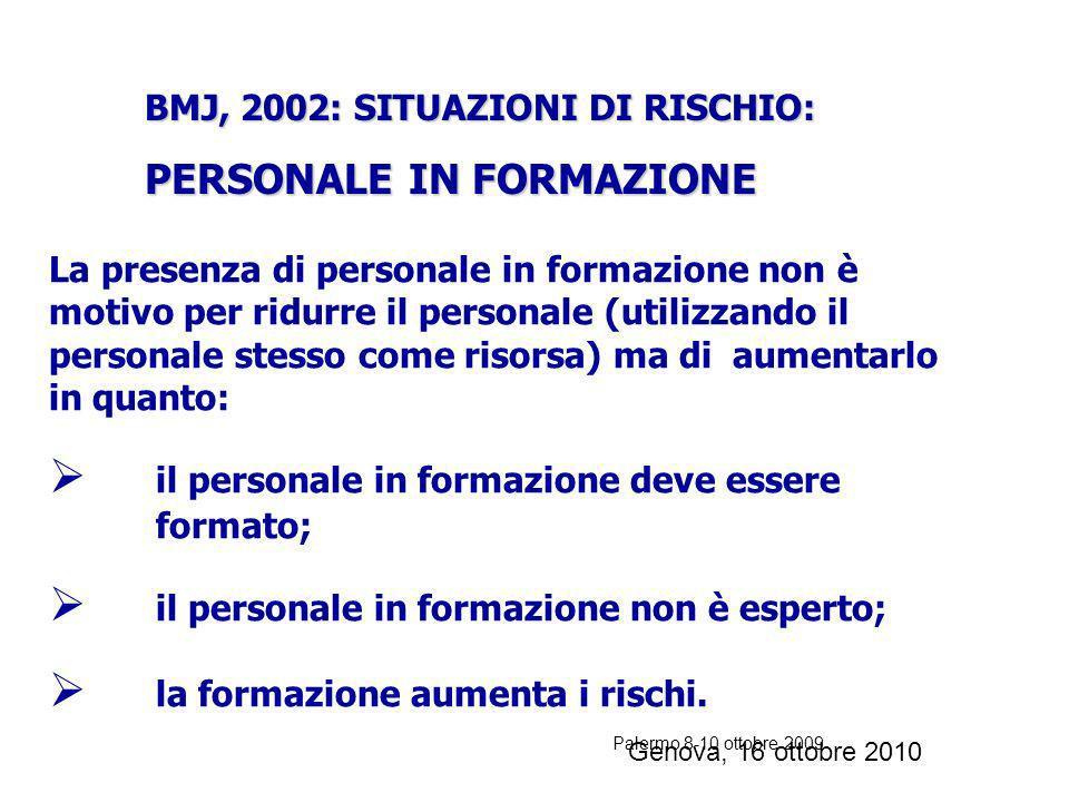 Palermo 8-10 ottobre 2009 FATTORI DI AUMENTATO RISCHIO DI EVENTO AVVERSO (2) Utilizzo di personale temporaneo (es. Pronto Soccorso, Terapie Intensive)