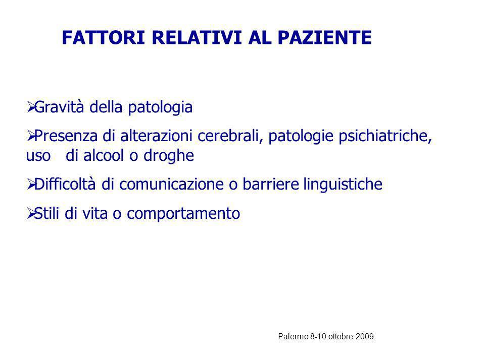 Palermo 8-10 ottobre 2009 CLASSIFICAZIONE DEGLI ERRORI NEL DEA (Karen Cosby, 2003, Annals of Emergency Medicine) Fattori umani: paziente medico Intra-