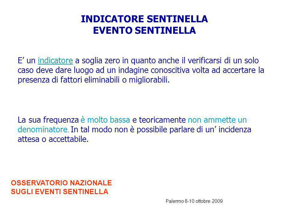 Palermo 8-10 ottobre 2009 PERCHE SI CHIAMANO EVENTO SENTINELLA ? Tali eventi sono denominati